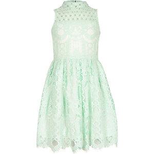 Girls green lace diamante prom dress
