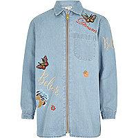 Veste chemise en jean bleu clair pour fille