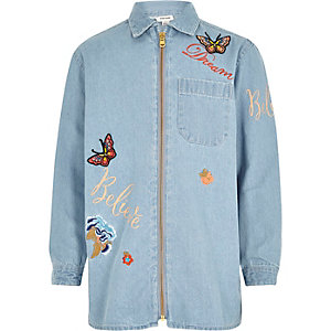 Girls light blue denim badge shacket