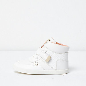 Mini girls white snake detail hi tops