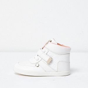 Mini - witte hoge sneakers met slangenprintdetail voor meisjes