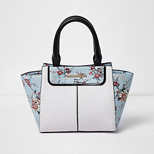 Girls blue floral print winged tote bag