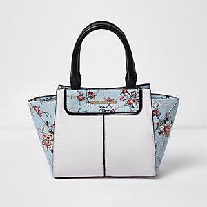 Blauwe handtas met zij-inzetten en bloemenprint voor meisjes