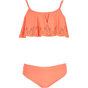 Girls coral laser cut shelf bikini