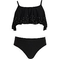 Girls black laser cut shelf bikini set