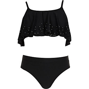 Girls black laser cut shelf bikini set