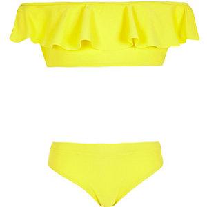 Girls yellow frill bardot bikini