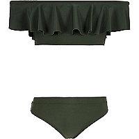 Girls khaki green bardot frill bikini set