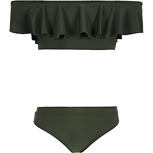 Girls khaki green bardot frill bikini set