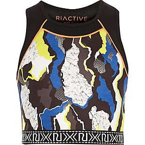 Girls RI Active blue camo sports crop top