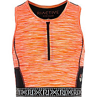 Girls RI Active orange zip sports crop top