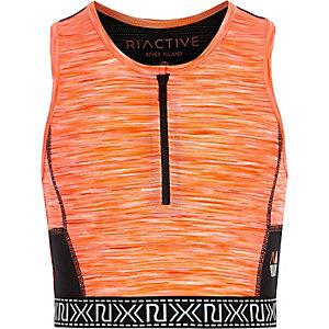 Girls RI Active orange zip sports crop top