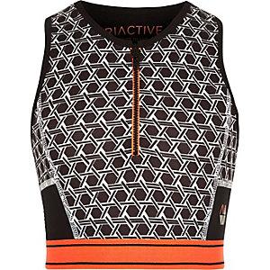 RI Active grijze crop top met rits en geometrische print voor meisjes