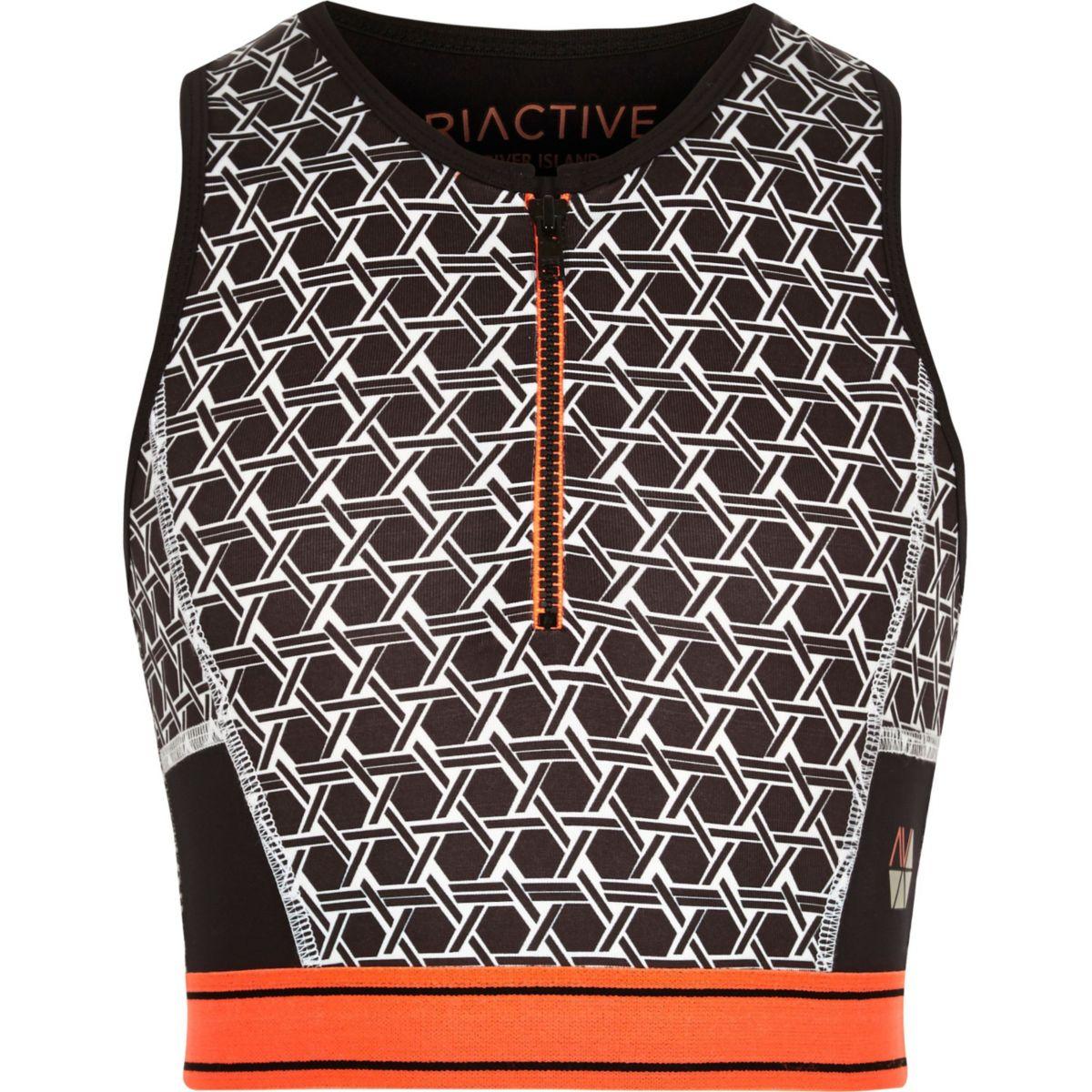 Crop top RI Active gris zippé motif géométrique pour fille