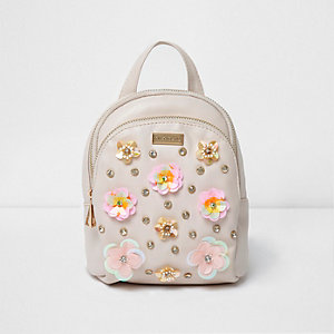Girls pink 3D flower backpack