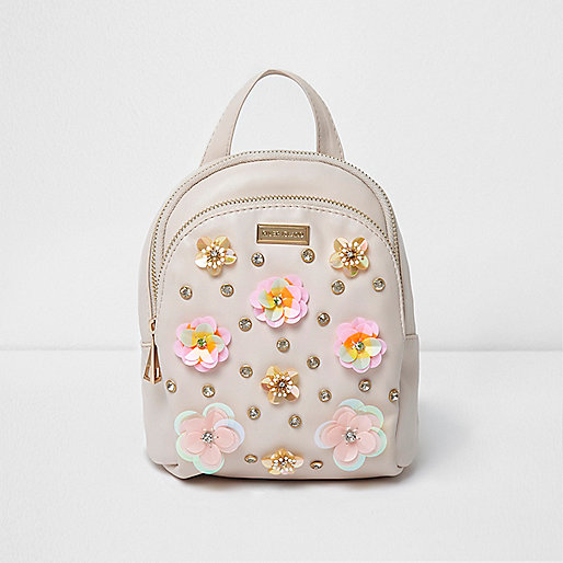 Girls pink 3D flower backpack