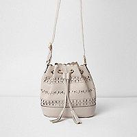 Girls beige laser cut slouch bucket bag