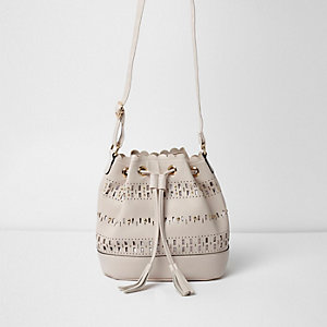 Girls beige laser cut slouch bucket bag