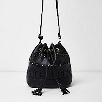 Girls black laser cut slouch duffle bag