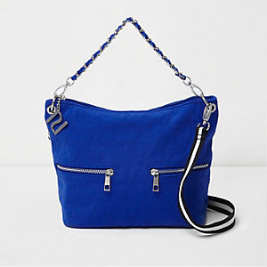 Girls blue quilted tote cross body bag'