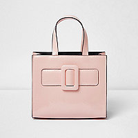 Girls pink boxy buckle tote bag