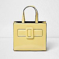 Girls yellow buckle boxy tote bag