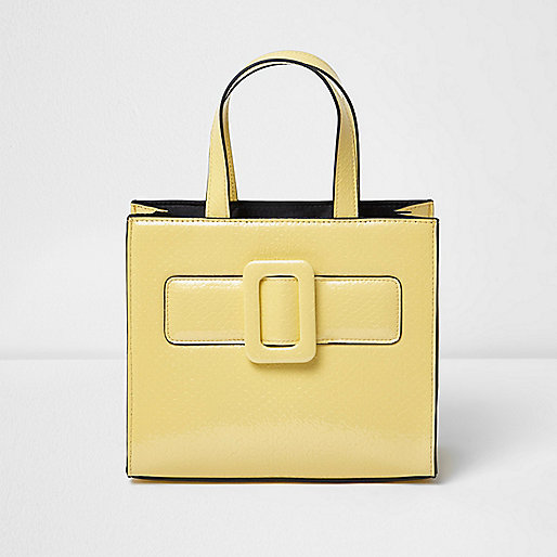 Girls yellow buckle boxy tote bag