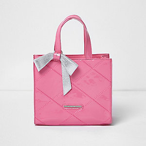 Girls pink structured bow tote bag