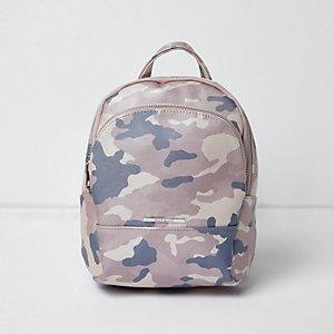 Roze rugzak met camouflageprint voor meisjes