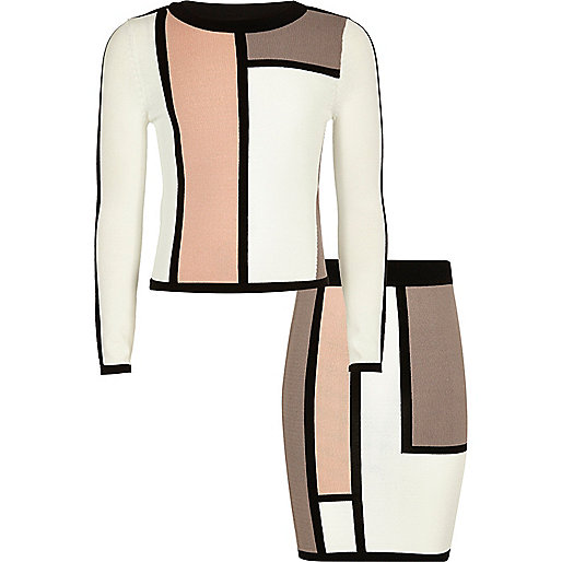 Girls white colour block top and skirt