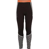 Girls RI Active black geo sports leggings