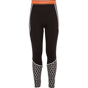 Girls RI Active black geo sports leggings