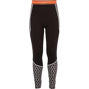 Legging de sport RI Active noir motif géométrique pour fille