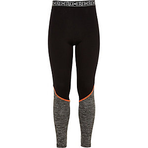 Girls RI Active black panel sports leggings
