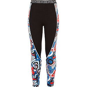 Girls RI Active blue panel sports leggings