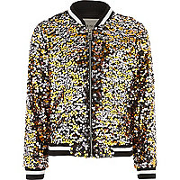 Black multicoloured sequin bomber jacket