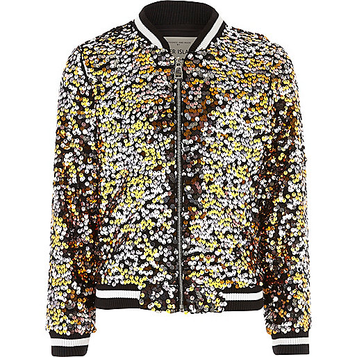 Black multicolored sequin bomber jacket
