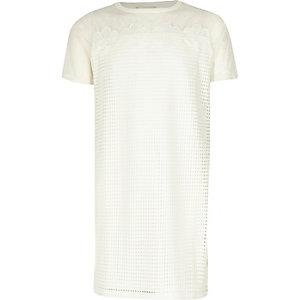 Weißes T-Shirt-Kleid aus Netzstoff