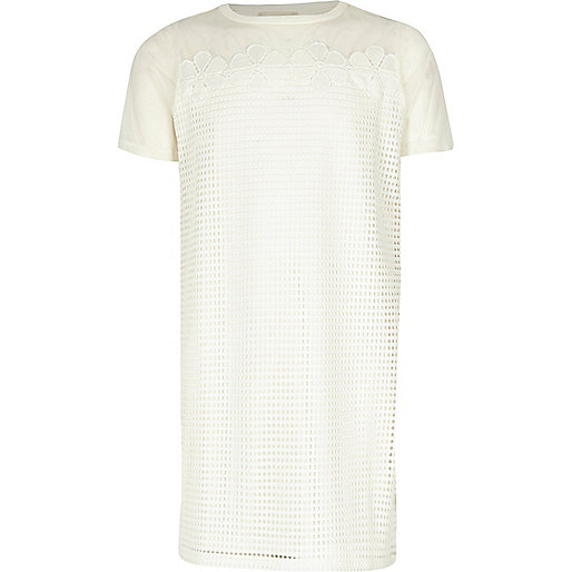 Girls white mesh T-shirt dress