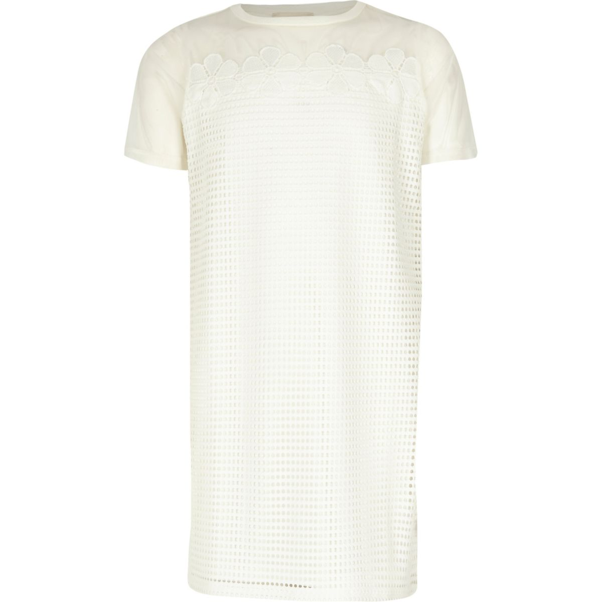 Girls white mesh T-shirt dress