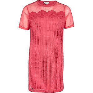 T-Shirt-Kleid aus pinkem Mesh