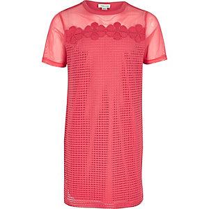Roze mesh T-shirtjurk voor meisjes