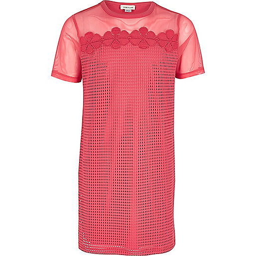 Girls pink mesh T-shirt dress