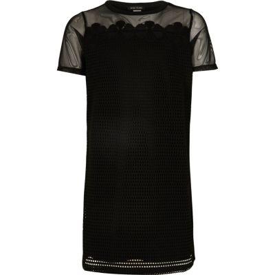 Zwarte T-shirtjurk met mesh voor meisjes