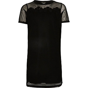 Girls black mesh T-shirt dress