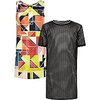 Lot avec robe à imprimé géométrique et robe en tulle pour fille