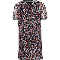 Girls pink floral T-shirt dress