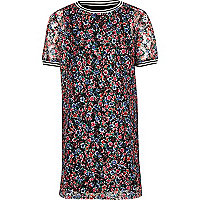 Girls pink floral T-shirt dress