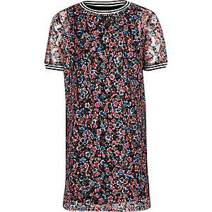 Roze T-shirt jurk met bloemenprint voor meisjes
