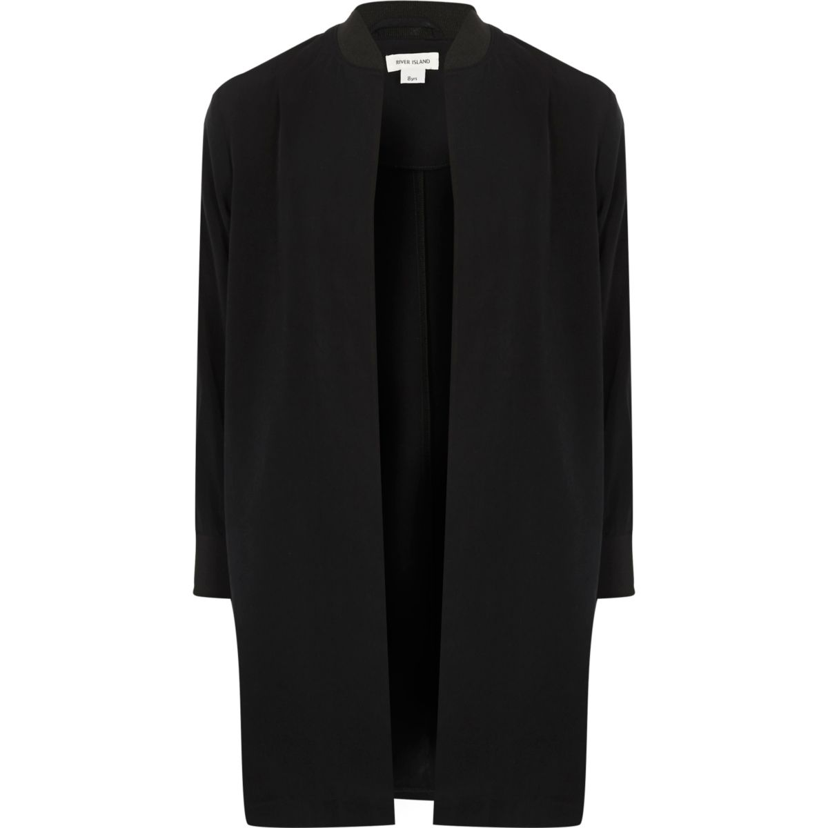 Girls black sporty duster jacket